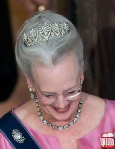 Margarethhe wearing the Baden Palmette tiara with five downward-pointing palmete motifs, forming 'heart-shapes'. courtesy of Billed magazine