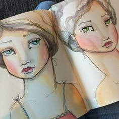Beautiful watercolor faces