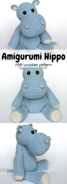 DIY stuffed hippo crocheted toy. PDF crochet pattern for this adorable doll. Instant download. #etsy #ad