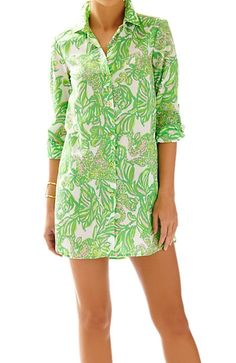 Lilly Pulitzer Jupiter Island Cover-Up in Resort White Seeing Pink Elephants Small