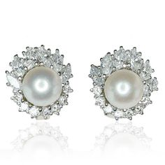 Earring Pearl Diamond  Diamant-Perlen-Ohrclips mit 1,027ct Navette Diamanten, Brillanten in Weissgold