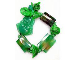 Goodluck Charm  Jade and Agate Bracelet by Crejzshoppe on Etsy, $68.00