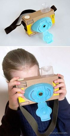 Toy Cardboard Camera How to make a cardboard toy camera - or less quick craft to make with or for your children // How to make a cardboard toy camera - or less quick craft to make with or for your children // Kids Crafts, Projects For Kids, Diy For Kids, Creative Crafts, Easy Crafts, Cardboard Camera, Cardboard Crafts, Junk Modelling, Toy Camera
