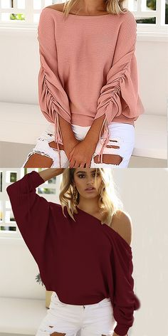17.00  Women s Daily Vintage   Street chic Solid Colored Long Sleeve  Batwing Sleeve Loose Regular Pullover 86e9fa4d4854