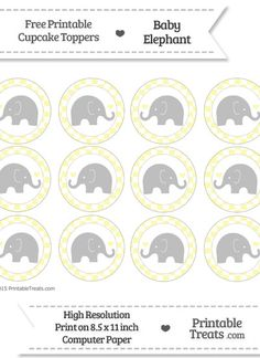 Free Pastel Light Yellow  Checker Pattern Baby Elephant Cupcake Toppers