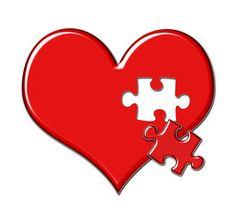 pic of glossy heart shape - Red shiny heart with puzzle piece missing - JPG