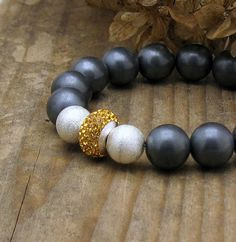 Black Matte Hematite Luxe Modern Beaded Bracelet Golden Topaz Cubic Zirconia Sterling Silver / November Birthstone Color / Urban on Etsy, $119.00