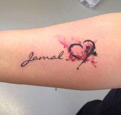 Nombre y Corazón estilo Acuarelas - Tatuajes para Mujeres. Encuentra esta muchas ideas mas de Tattoos. Miles de imágenes y fotos día a día. Seguinos en Facebook.com/TatuajesParaMujeres!