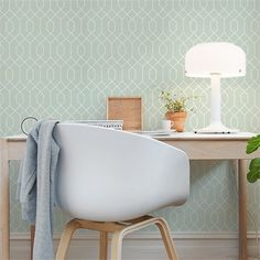 Papier peint La Farge – Fond vert aqua et motifs blancs