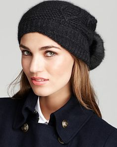 Love this: Knit Hat with Rabbit Pom @Lyst