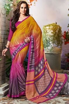 Orange art silk printed party wear saree with blouse at Easysarees.