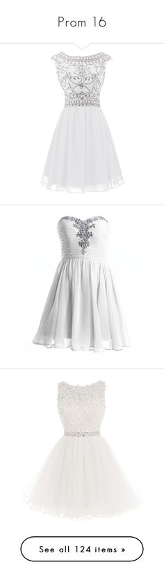 """Prom 16"" by alyssa23 ❤ liked on Polyvore featuring dresses, white dress, prom dresses, short prom dresses, beaded prom dresses, chiffon dress, strapless cocktail dress, white homecoming dresses, short cocktail dresses and strapless chiffon dress"