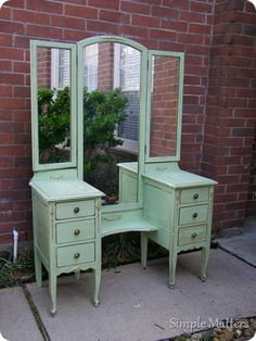 Mint Green Triple Mirror Vanity  -want big clear mirror for bathroom sink, and a separate vanity with three moving mirrors like this for hair and makeup- need to find one!
