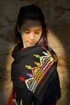 Multi-coloured scarf  with cross stitch embroidery palestine