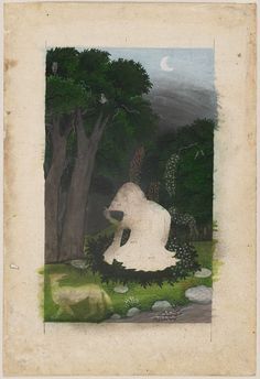 Attributed to the Family of Nainsukh,Utka or Vasuka Nayika (The Heroine Who Waits Anxiously for Her Absent Lover) c.1800