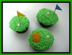 How to Make these cute cupcakes by decorating your favorite cupcake with green frosting, graham cracker crumb sand traps, tooth pick flags, and Wilton pearlized sprinkles for the golf balls. Decorate cupcakes for a golf party theme.