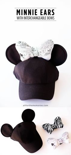 Carley - these are cute! -Lisa DIY Minnie Ears Hat with Interchangeable Bows - All for the Memories Diy Mickey Mouse Ears, Micky Ears, Disney Mickey Ears, Disney Bows, Minnie Bow, Disney Diy, Disney Crafts, Disney Shirts, Disney Ideas