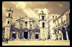 Beautiful colonial cathedral in Havana old town.