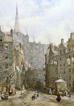Louise Ingram Rayner (British artist) 1832 - 1924 Foot at the West Bow, Edinburgh, s.d.