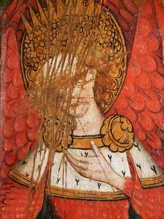 iconoclasm of Seraphims on Rood screen in 15th century. St Michaels, Barton Turf Church, Norfolk.