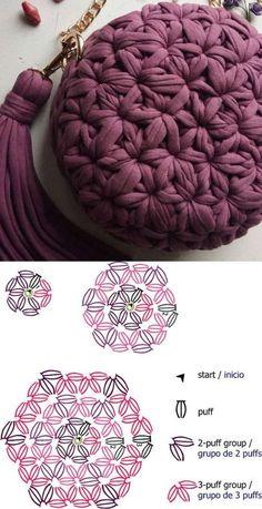Faça e lucre: 26 modelos de bolsa de crochê com gráfico 26 Lindos modelos de bolsa de crochê e gráficos Sie Grafikdesign häkeln Sie Grafikdesign Crochet Stitches Patterns, Crochet Chart, Diy Crochet, Knitting Patterns, Knitting Tutorials, Knit Stitches, Crochet Granny, Loom Knitting, Free Knitting