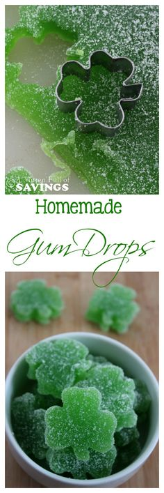 Here's an easy St. Patrick's Day treat. Homemade Gum Drops ! Perfect classroom St. Patrick's Day treat!