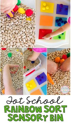 This Rainbow Sort sensory bin was lots of fun to explore. Perfect idea for tot school, preschool, or the kindergarten classroom.