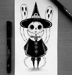 @behemot_crta_stvari | Doodles. Procrastinator. Exorcist. Comics. Eye rolls. Demon cats. Slytherin. Halloween. Kreten od čovjeka. ⬇️SHOP MERCH HERE⬇️ Amazing Drawings, Easy Drawings, Scary Art, Creepy, Gothic Drawings, Witch Drawing, Zombie Art, Halloween Drawings, Kawaii Art