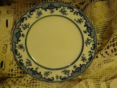 Antique Flow Blue Plate Aylmer B & S 9.5 inches #aylmer