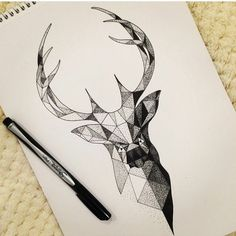 Images for request geometric deer tattoo - - Geometric Deer, Geometric Drawing, Geometric Tattoos, Geometric Lines, Geometric Tattoo Animal, Modern Drawing, Geometric Nature, Tattoo Sketches, Tattoo Drawings