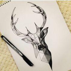 Facile dessin géométrique facile idée comment dessiner cerf motif points