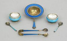 Gustav Gaudernack for David-Andersen-Sterling silver-enamel salt-cellars and spoons and Tea strainer/sugar tong.