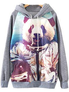 Kapuzen-Sweatshirt mit Panda Muster, grau