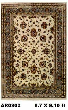 #Beautiful #handknotted #superfine #isfahan with #silk #flowers #design.  further details available at http://abeerugs.com/indo-isfahan-cream-with-silk-flowers-and-grey-border-AR0900?search=flower