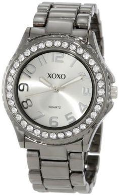 XOXO Women's XO5311  Gun-metal Bracelet With Rhinestones Accent Watch XOXO. $19.99. Case Diameter: 38mm. Analogue Quartz Movement. Jewelry Clasp. Silver Sunray Dial. Rhinestones accented bezel