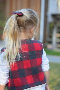 Fur & Flannel Kids vest Plaid Flannel, Plaid Scarf, Kids Vest, Leather Pieces, Long Sleeve Tees, Black Leather, Fur, How To Wear, Fashion