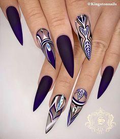 Dope Nails, Swag Nails, Winter Nail Designs, Nail Art Designs, Gorgeous Nails, Pretty Nails, Perfect Nails, Nagel Bling, Stiletto Nail Art
