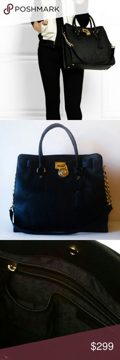 Michael Kors Hamilton Large Black Bag This is the gorgeous authentic Michael Kors Hamilton large black bag in soft comfortable leather! Shiny gold hardware, detailed gold chain and signature lock charm with the famous MK logo beautifully accent this feminine silhouette!  Both a satchel and a shoulderbag. Dress it up or use it as an everyday bag because the large size holds so much. Black satin interior with 5 pockets inside. Fabulous! MICHAEL Michael Kors Bags Shoulder Bags