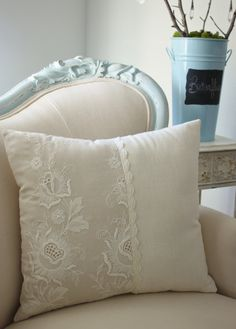 Hungarian Embroidery Vintage French cutwork embroidery pillow w/white floral and scalloped design -