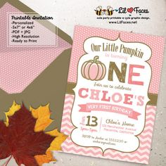 Pink and Gold Pumpkin Birthday Party Printable Invitations First birthday…