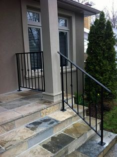 Real Home Inspiration: porch railing kits for sale only on this page Porch Railing Kits, Wrought Iron Porch Railings, Porch Handrails, Exterior Stair Railing, Porch Railing Designs, Outdoor Stair Railing, Railings For Steps, Railing Ideas, Front Porch Steps