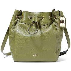 Lauren Ralph Lauren Grafton Cara Mini Drawstring Bag ($198) ❤ liked on Polyvore featuring bags, handbags, cargo olive, leather drawstring bag, leather purses, mini purse, drawstring purse and green purse