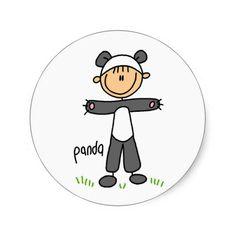Panda Dress Up T-shirts and gifts Round Stickers