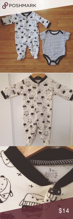 Black and white set Owl print button up alongside black, white, and silver onesie.  So cute! Only worn once. Size: 0-3 months.  Up to 12.5 lbs One Pieces Footies