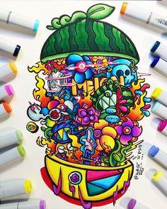 Cute Doodle Art, Cool Doodles, Doodle Art Designs, Doodle Art Drawing, Doodle Sketch, Trippy Drawings, Colorful Drawings, Art Drawings Sketches, Graffiti Doodles