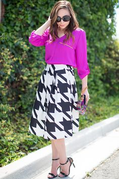 Women's high waist houndstooth midi skirt available in S-XL #modesty