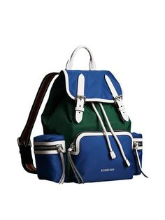 e8fa574714a Burberry mochila The Medium Rucksack in Colour Block Nylon and Leather  Sports Bags