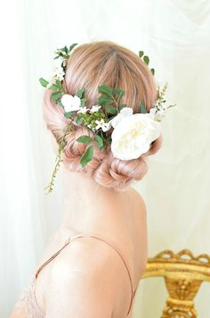 Woodland wedding crown, leaf and flower crown, white floral halo, hair wreath, circlet, hair accessory by Gardens of Whimsy on Etsy