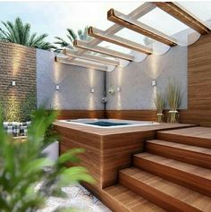 40 Lovely Jaccuzzis Ideas - When people refer to a hot tub or a spa, they often think of the word Jacuzzi. The terms are often used interchangeably but Jacuzzi is actually a bran. Hot Tub Gazebo, Hot Tub Deck, Hot Tub Backyard, Hot Tub Garden, Small Backyard Pools, Garden Gazebo, Backyard Patio, Backyard Landscaping, Landscaping Design