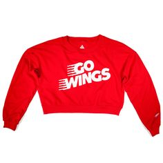 Go Wings Detroit Women's Cropped Crewneck   Red
